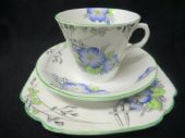 Melba China Art Deco blue primroses trio